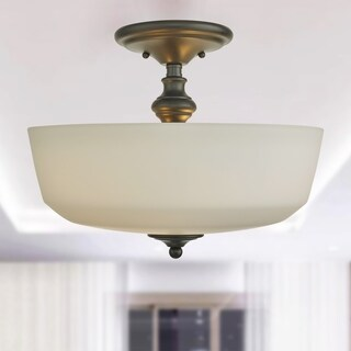 Barclay Oil Rubbed Bronze 2-Light Semi-Flush Mount Lamp with Frosted Glass Shade