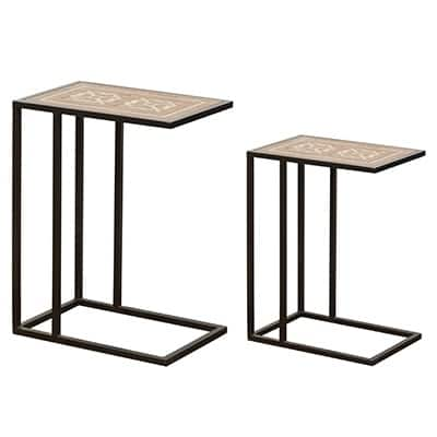 A&B Home Raj Brass Inlaid Nesting Tables (Set of 2)