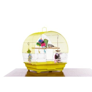 Prevue Pet Products Soho Dome Top Cockatiel Cage Chartreuse & White