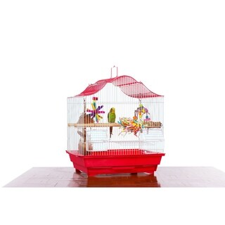 Prevue Pet Products Soho Crown Top Cockatiel Cage Red & White