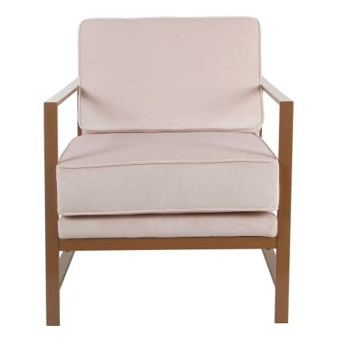 HomePop Modern Pink Velvet Accent Chair with Metal Frame