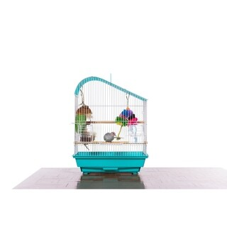 Prevue Pet Products Palm Beach Teardrop Roof Budgie Cage Aqua & White