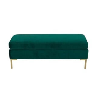 HomePop Bedford Large Velvet Decorative Bench with Pillow Top - Emerald Green