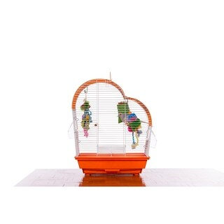 Prevue Pet Products Palm Beach Waterfall Roof Budgie Cage Orange & White