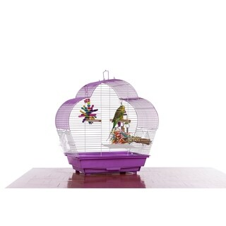 Prevue Pet Products Palm Beach Scallop Roof Budgie Cage Purple & White