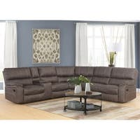 Abbyson Roosevelt Grey Fabric 6 Piece Reclining Sectional