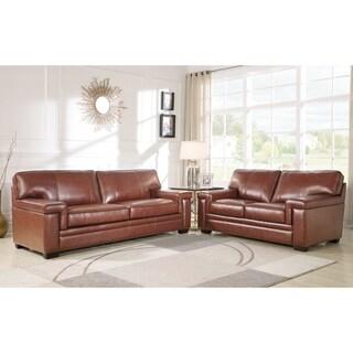 Abbyson Reagan Brown Top Grain Leather Sofa And Loveseat