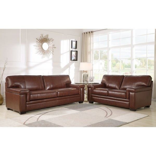 Shop Abbyson Reagan Brown Top Grain Leather Sofa And Loveseat - On ...