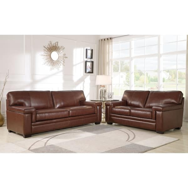 Fantastic Shop Abbyson Reagan Brown Top Grain Leather Sofa And Onthecornerstone Fun Painted Chair Ideas Images Onthecornerstoneorg