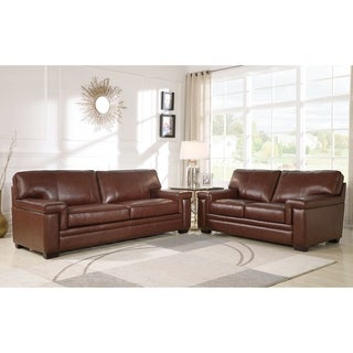 Abbyson Reagan Brown Top Grain Leather Sofa And Loveseat