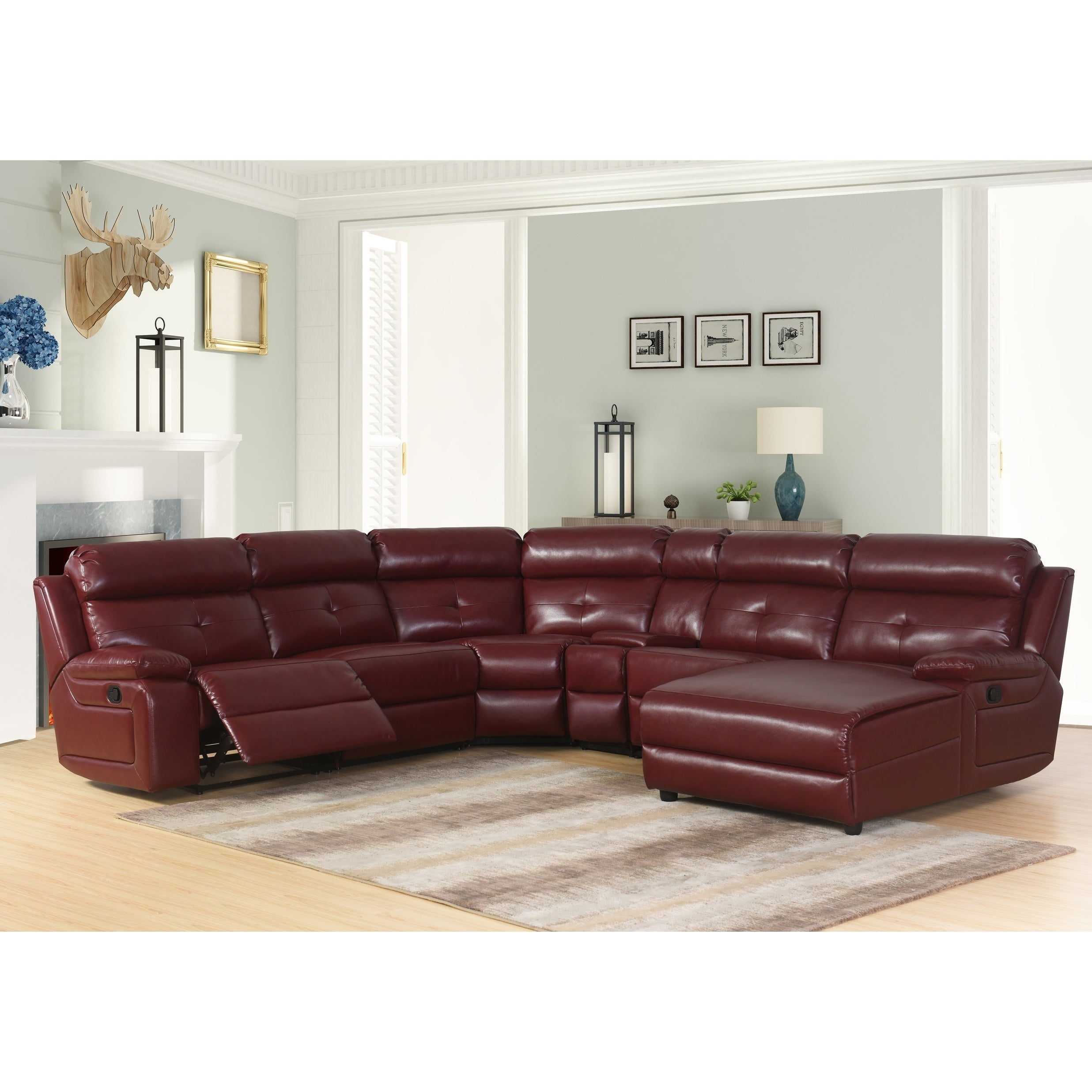 Abbyson Stevens 6 Piece Red Bonded Leather Reclining Sectional Ebay