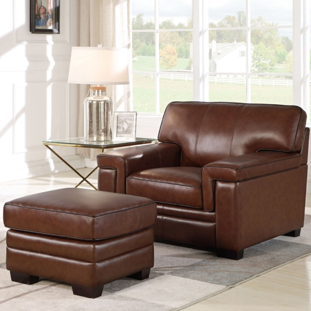Pleasing Abbyson Reagan Brown Top Grain Leather Chair And Ottoman Dailytribune Chair Design For Home Dailytribuneorg