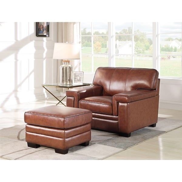 Abbyson Reagan Brown Top Grain Leather Chair And Ottoman