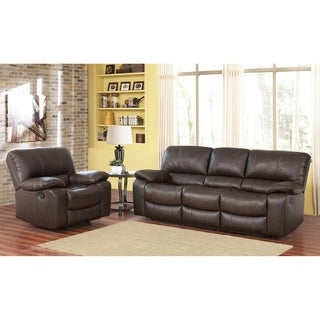 Abbyson Lawrence Brown Top Grain Leather Sofa And Armchair Set