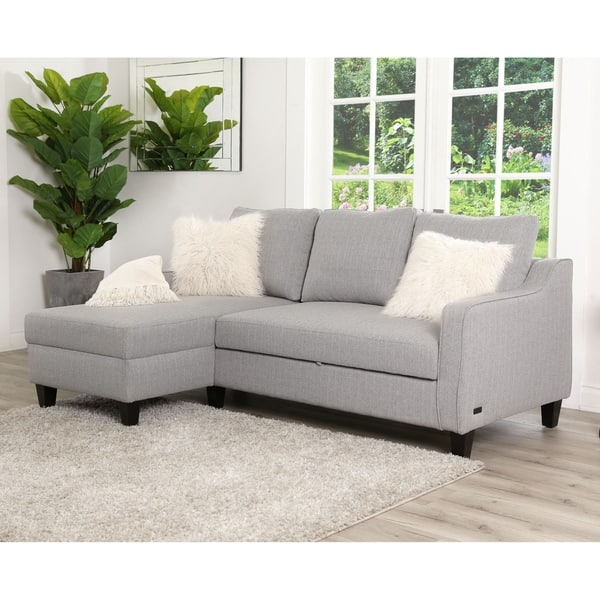 Shop Abbyson Haskell Grey Convertible Sofa Bed - On Sale - Free ...