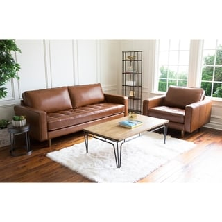 Abbyson Holloway Mid Century Top Grain Leather Sofa and Armchair Set