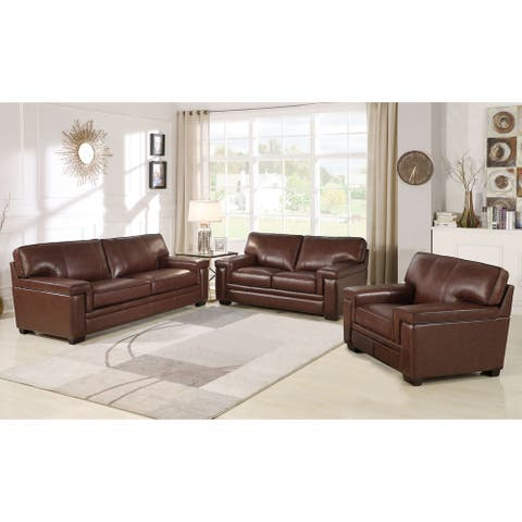 Abbyson Reagan Brown Top Grain Leather 3 Piece Seating Set