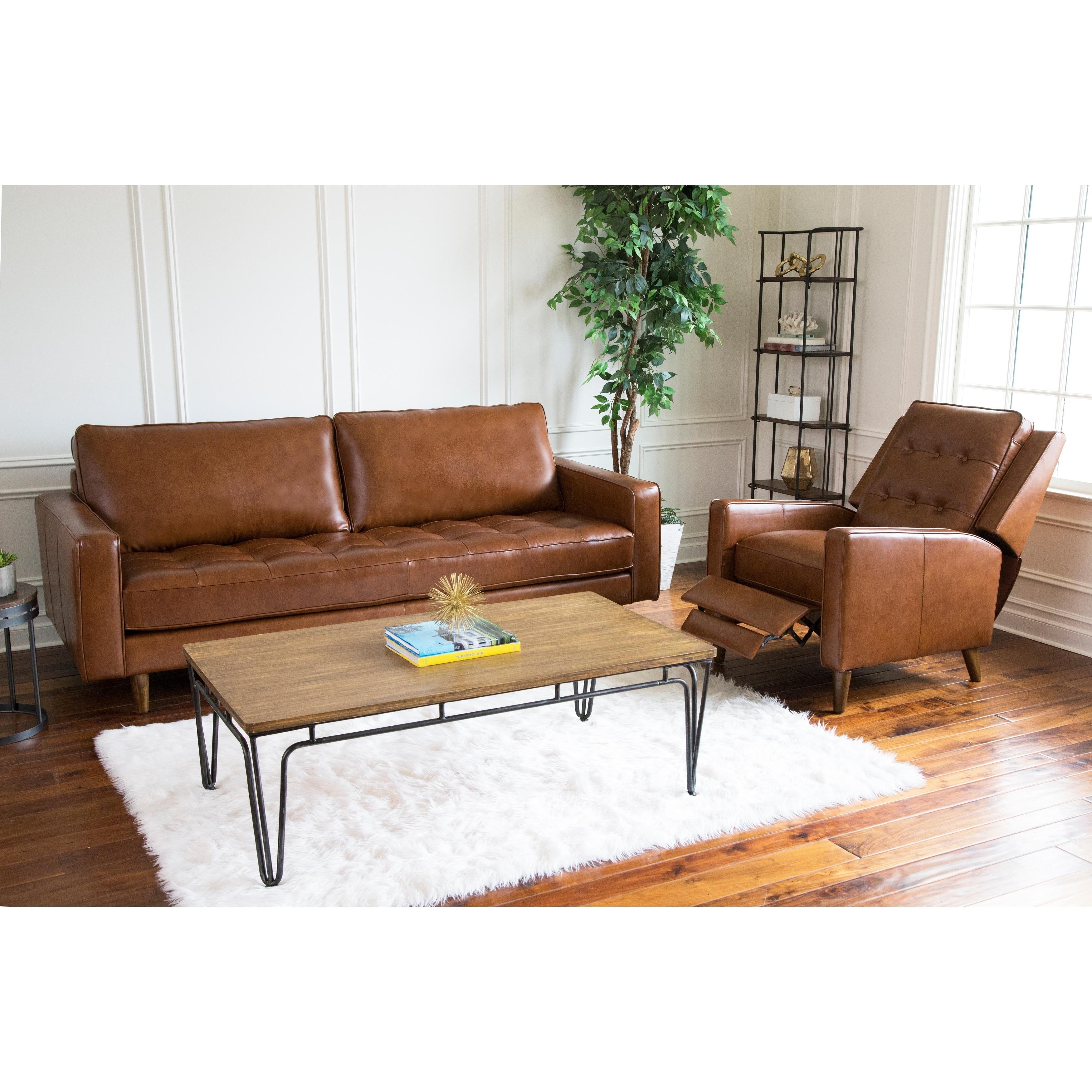 Abbyson Holloway Mid Century Leather Sofa and Recliner Set