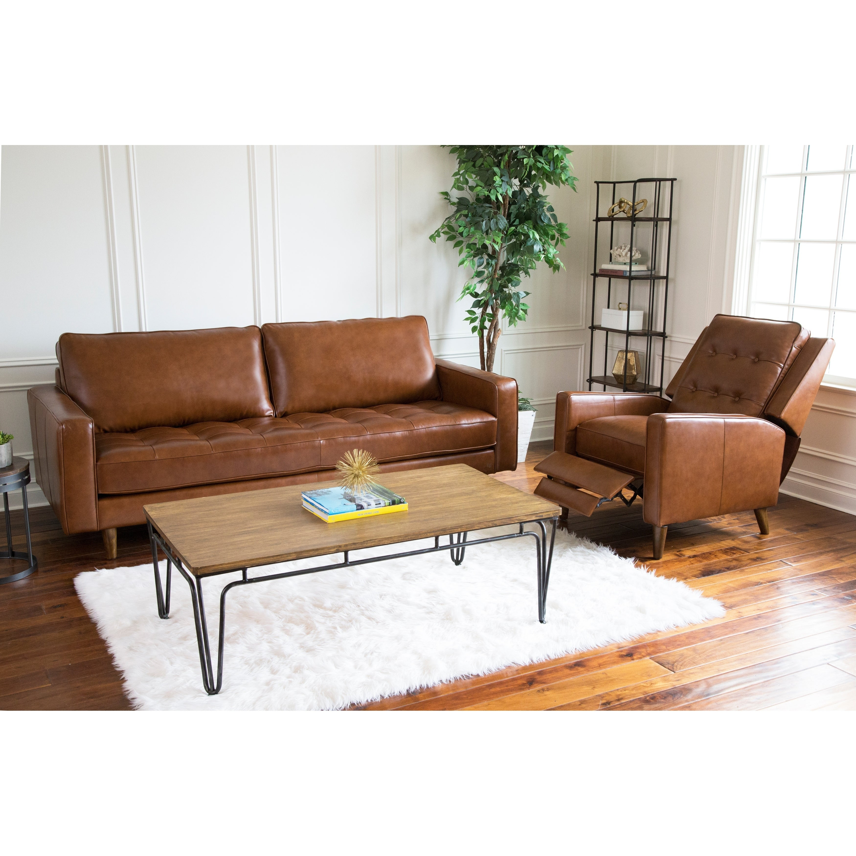 Leather Sofa And Recliner Set