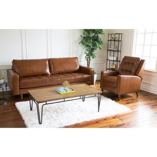 Abbyson Holloway Mid Century Leather Sofa and Recliner Set | Overstock.com  Shopping - The Best Deals on Living Room Sets