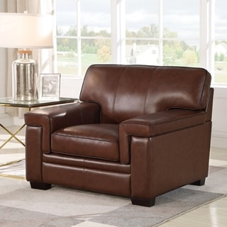Abbyson Reagan Brown Top Grain Leather Armchair