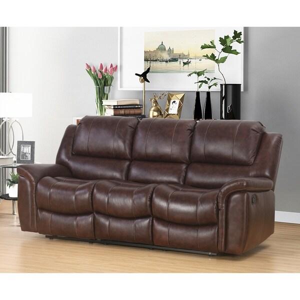 Awesome Shop Abbyson Benicia Brown Top Grain Leather Sofa Recliner Interior Design Ideas Tzicisoteloinfo