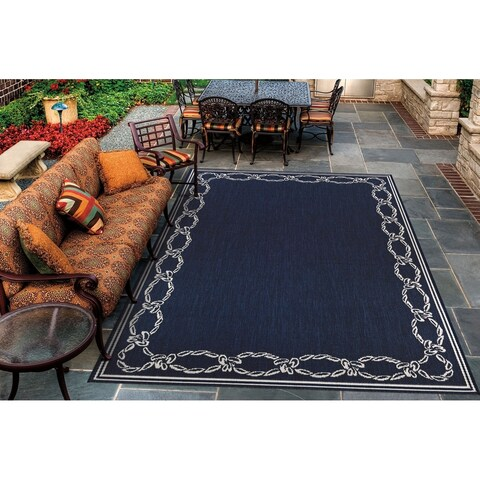 "Pergola Link Ivory-Blue Indoor/Outdoor Area Rug - 7'6"" x 10'9"""