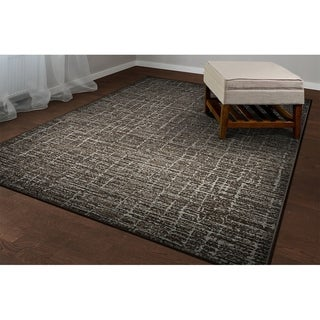 Provencal Linear Brown Area Rug - 2' x 3'7""