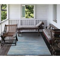 Carriage House Stria/Blue-Champagne Indoor/Outdoor Area Rug - 2' x 3'7