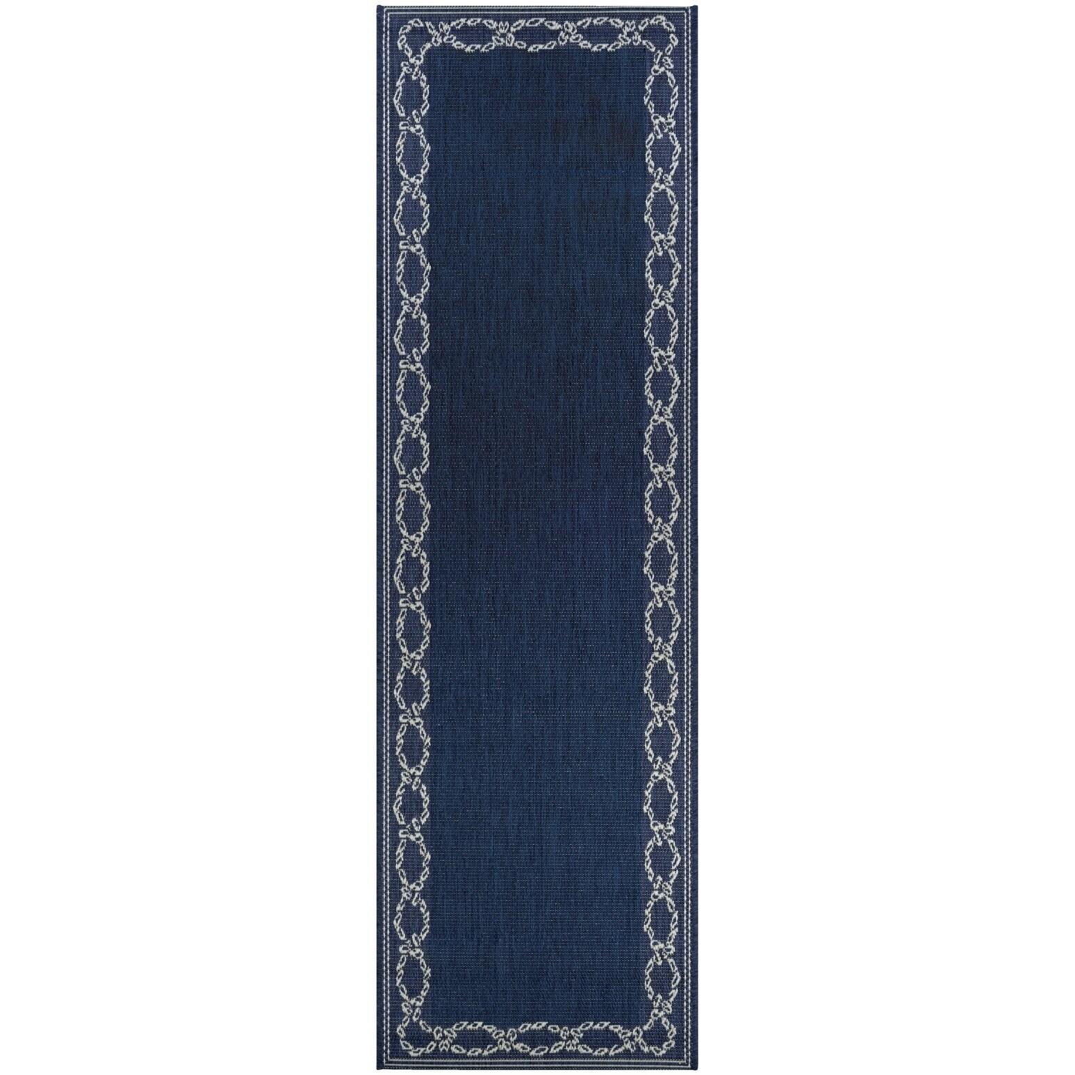 Shop Pergola Link Ivory Blue Indoor Outdoor Runner Rug 2 3 X 11 9 Runner Overstock 21132972