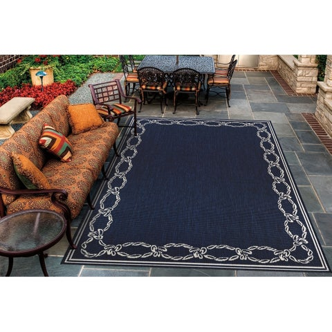 "Pergola Link Ivory-Blue Indoor/Outdoor Area Rug - 5'3"" x 7'6"""
