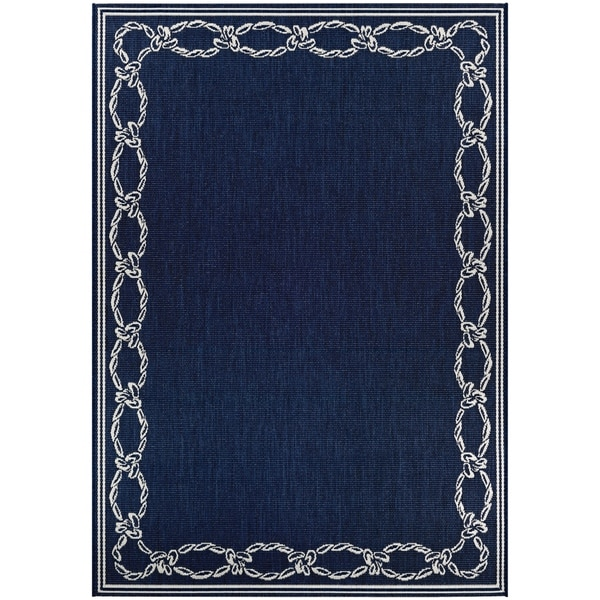 Shop Pergola Link Ivory Blue Indoor Outdoor Area Rug 5 3 X 7 6