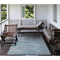 """Carriage House Stria/Blue-Champagne Indoor/Outdoor Area Rug - 5'3"""" x 7'6"""""""