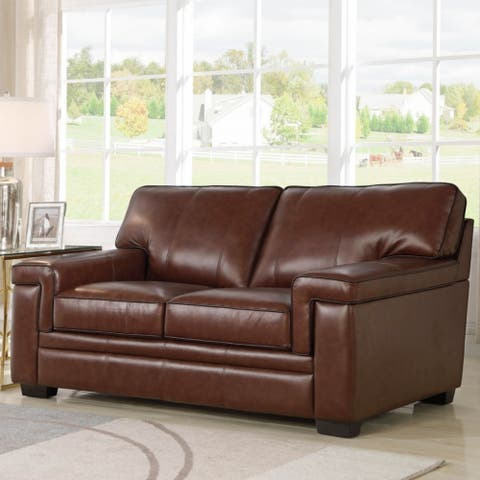Abbyson Reagan Brown Top Grain Leather Loveseat