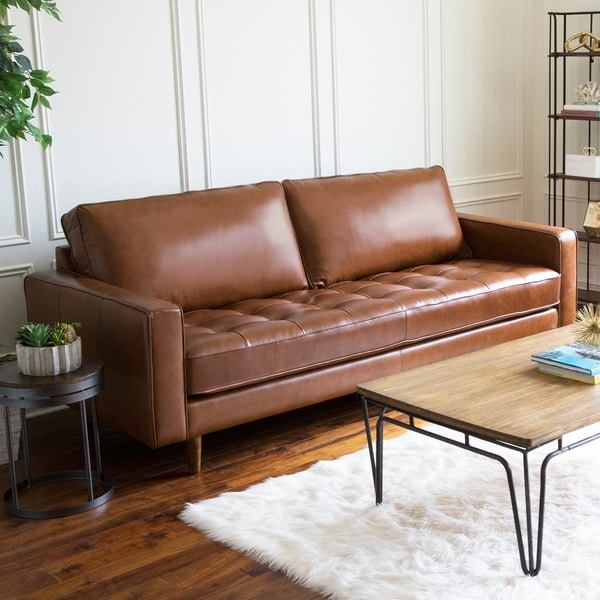 Shop Abbyson Holloway Mid Century Top Grain Leather Sofa