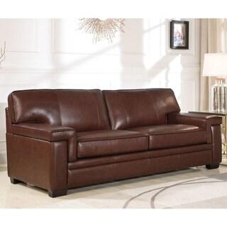 Abbyson Reagan Brown Top Grain Leather Sofa