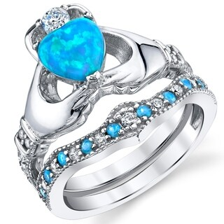 Oliveti Sterling Silver Irish Claddagh Engagement Ring Wedding Bridal Sets with Blue Simulated Opal