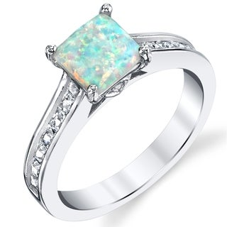 Oliveti Sterling Silver White Fire Created Opal and Cubic Zirconia Engagement Ring Band