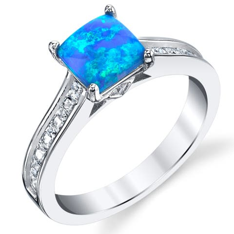 Oliveti Sterling Silver Blue Fire Created Opal and Cubic Zirconia Engagement Ring Band