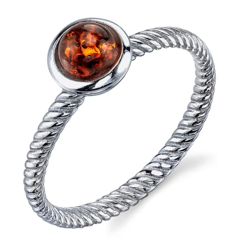 Oliveti Sterling Silver Baltic Amber Ring with Cognac Color Cabochon and Twisted Band - Brown/Orange