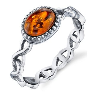 Oliveti Infinity Design Sterling Silver Ring with Baltic Amber Cognac Color Stone - Brown/Orange