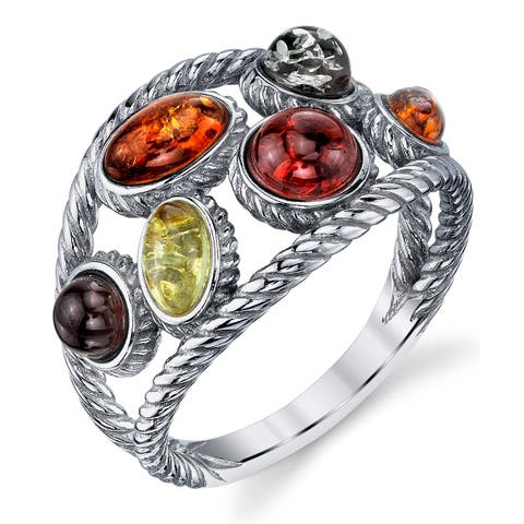 Oliveti Braided Sterling Silver Baltic Amber Ring with Multi Color Cabochon Stone