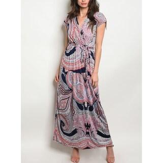 JED Women's Short Sleeve V-Neck Printed Maxi Dress