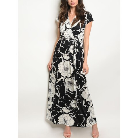 JED Women's Short Sleeve V-Neck Printed Maxi Dress