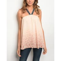 JED Women's Halter Ombre Paisley Print Sleeveless Top