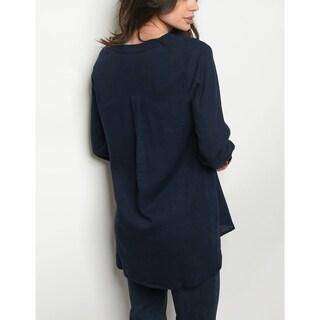 JED Women's Relax Fit Linen Blend Button Down Shirt