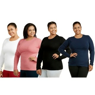 Ladies Long Sleeve Crew Neck T-Shirt Plus Size