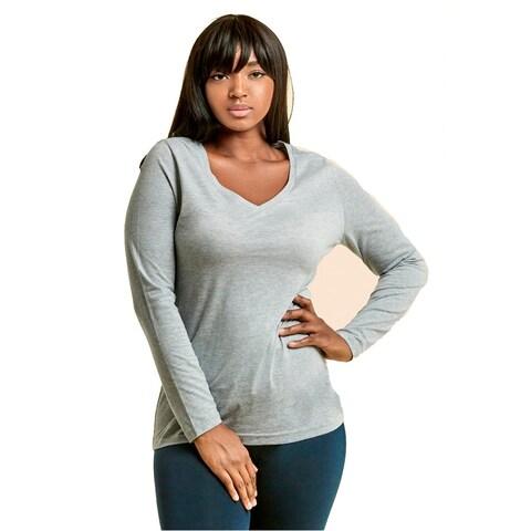 Ladies Long Sleeve V-Neck T-Shirt Plus Size