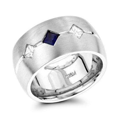 Unique Wedding Bands: Ladies Platinum Sapphire Diamond Wedding Ring 0.2ctw G-H Color by Luxurman