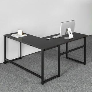 Priage Zinus Black Steel Urban L-shaped Large Desk